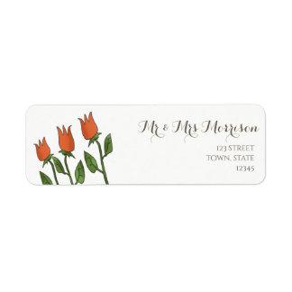Floral Watercolor Spring Tulips White Pure Elegant Return Address Label