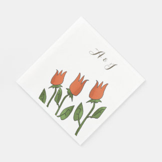 Floral Watercolor Spring Tulips White Pure Wedding Disposable Napkin