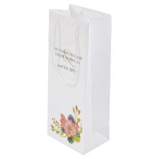 Floral Watercolor Spring Vintage Elegant Wedding Wine Gift Bag