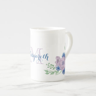 Floral Watercolor Vintage Blue Elegant Monogram Tea Cup
