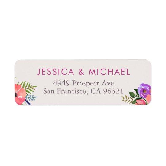 Floral Watercolor Wedding Return Address Label