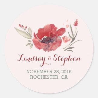 floral watercolor wedding stickers