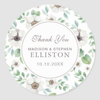 Floral Watercolor | White Anemone | Thank You Classic Round Sticker