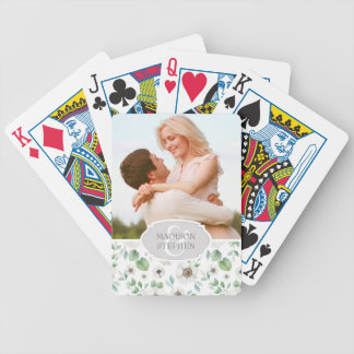 Floral Watercolor | White Anemone - Wedding Photo Bicycle Playing Cards