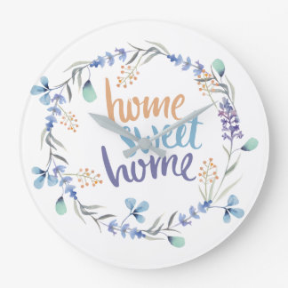 Floral Watercolor Wreath Home Sweet Home Large Clock