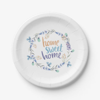 Floral Watercolor Wreath Home Sweet Home Paper Plate