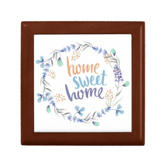 Floral Watercolor Wreath Home Sweet Home Small Square Gift Box