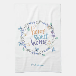 Floral Watercolor Wreath Home Sweet Home Tea Towel