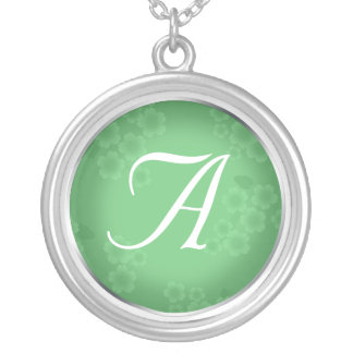 Floral Watermark Jade Green Monogram Necklace