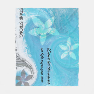 Floral Wave With Quote Fleece Blanket