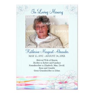 Floral Waves Blue Memorial Notice 11 Cm X 16 Cm Invitation Card