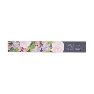 Floral wedding address return label wraparound return address label