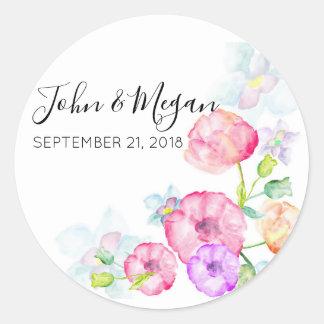Floral Wedding Classic Matte Round Sticker