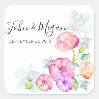 Floral Wedding Classic Matte Square Sticker