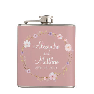 Floral Wedding Crown Hip Flask