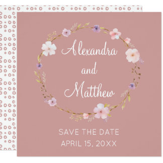 Floral Wedding Crown - Save The Date Card