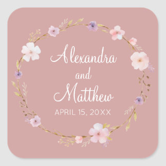 Floral Wedding Crown Square Sticker