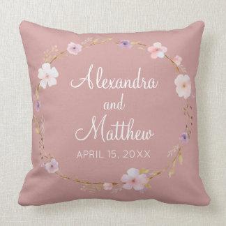 Floral Wedding Crown Throw Pillow