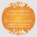 Floral Wedding Favour Tag Exotic Blooms Orange Round Stickers