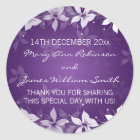 Floral Wedding Favour Tag Exotic Blooms Purple