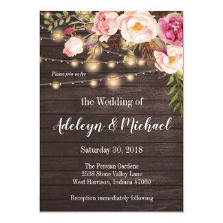 Floral Wedding invitation rustic