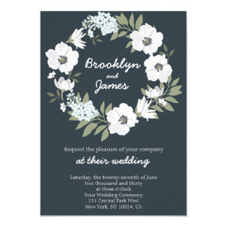 Floral Wedding Invitations White Wreath