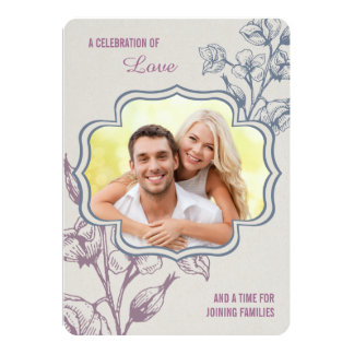 Floral Wedding Invite With Photo & Flowers