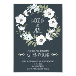 Floral Wedding Invites With White Wreath