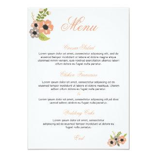 Floral wedding menu card