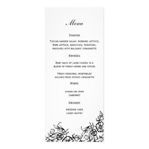 Floral Wedding Menu Invitation