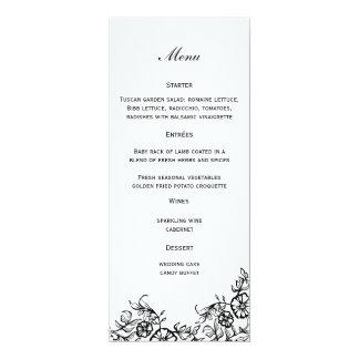 """Floral Wedding Menu 4"""" X 9.25"""" Invitation Card"""
