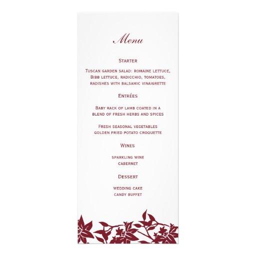Floral Wedding Menu Personalized Invitation