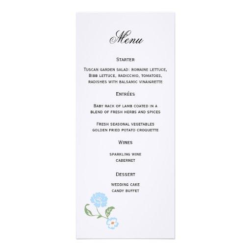 Floral Wedding Menu Announcement