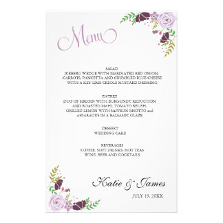 Floral Wedding Menu | Purple Stationery