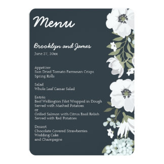 Floral Wedding Menu With White Flowers Card
