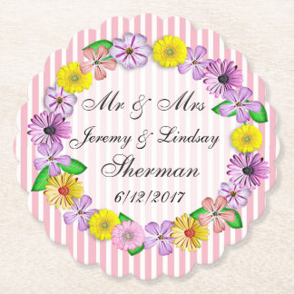 Floral Wedding Personalized Custom Paper Coaster