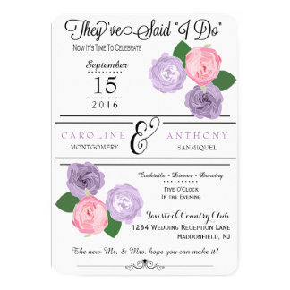 Floral Wedding Reception Only Invitation