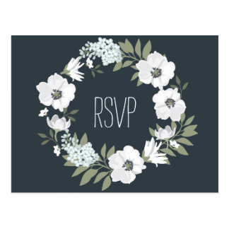 Floral Wedding RSVP Postcard With White Wreath