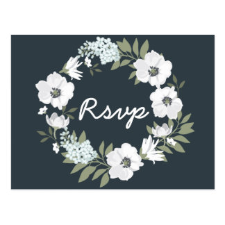 Floral Wedding RSVP Postcards With Wreath