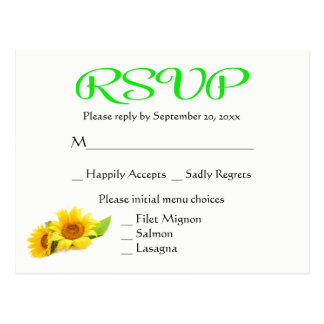 Floral Wedding RSVP Sunflowers Yellow & Green Postcard