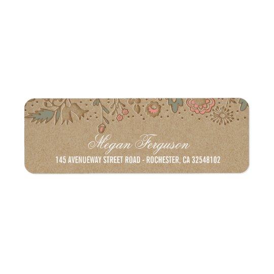Floral Wedding Rustic Return Address Label