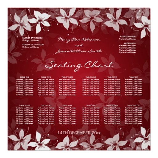 Floral Wedding Seating Chart Exotic Blooms Red Posters
