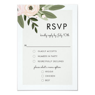 Floral Wedding Sprigs, RSVP Menu Card