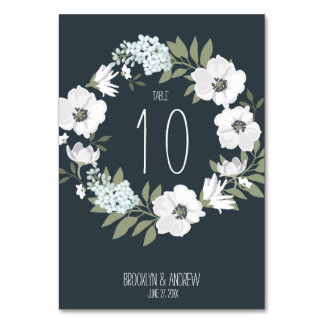 Floral Wedding Table Numbers With White Wreath Table Card