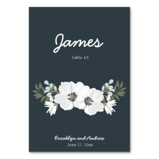 Floral Wedding Table Place Cards With Flowers