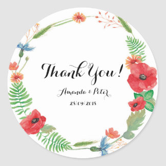 Floral Wedding Thank You Sticker