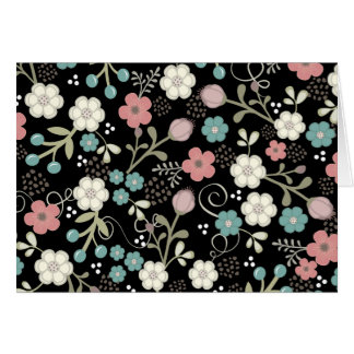 Floral Whimsy Modern Vintage Blank Notecard