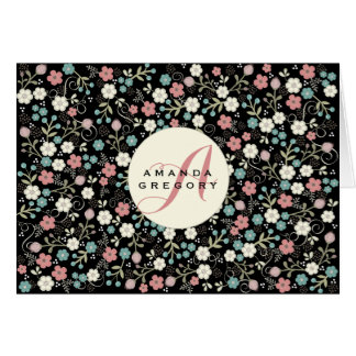 Floral Whimsy Modern Vintage Personalized Notecard
