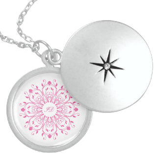 FLORAL | white and pink with monogram Sterling Silver Necklace
