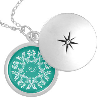 FLORAL | white and turquoise with monogram Silver Plated Necklace